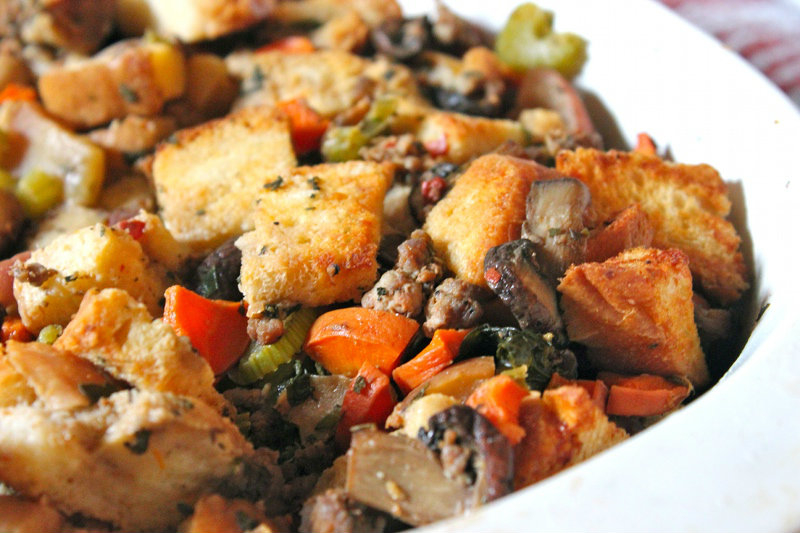 close up christmas stuffing