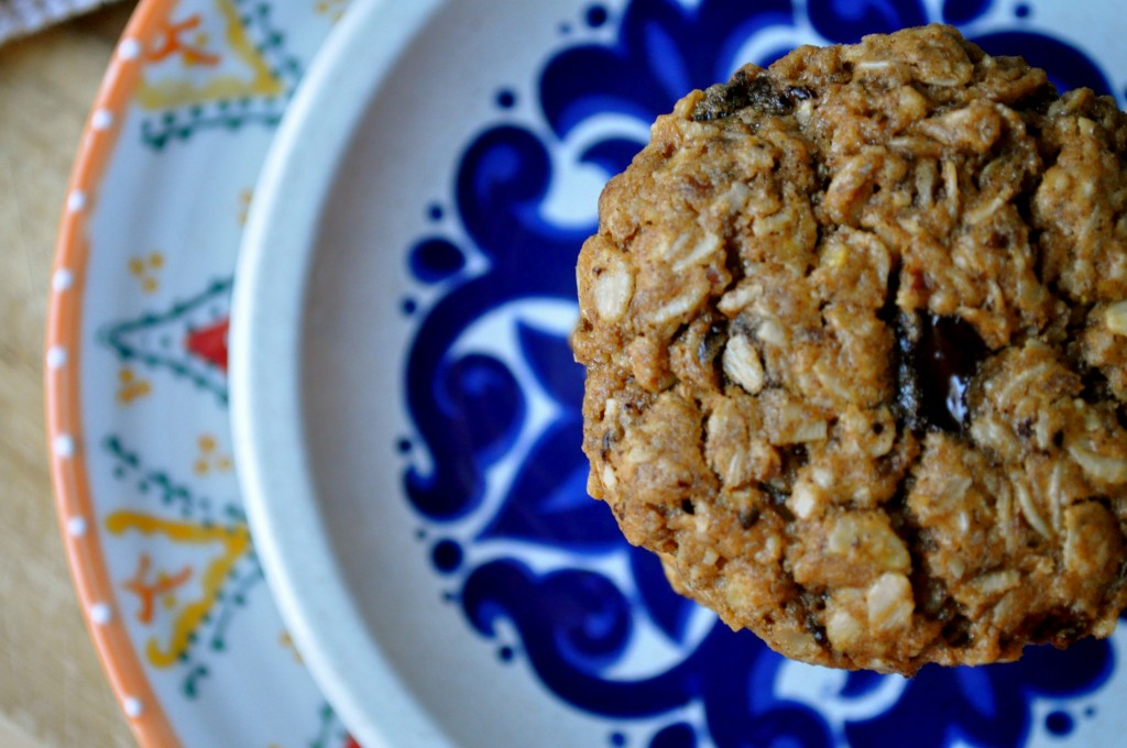 Almond Butter Oatmeal and Dark Chocolate Chip Cookies | Once Upon a Recipe
