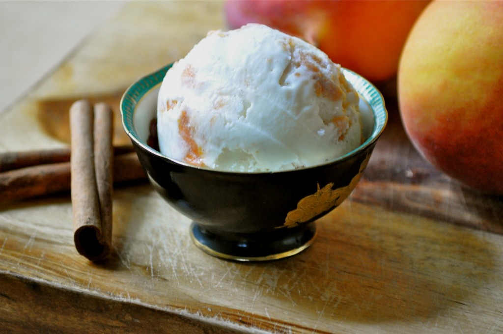 Peach Cinnamon Swirl Ice Cream | Once Upon a Recipe