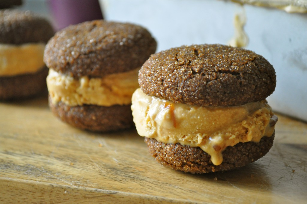 Ginger Cookie and Salted Caramel Ice Cream Sandwiches | Once Upon a Recipe