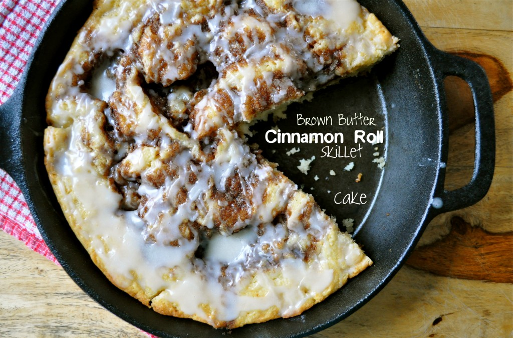 Brown Butter Cinnamon Roll Skillet Cake | Once Upon a Recipe