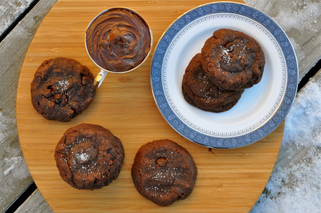 Nutella & Rolo Stuffed Double Chocolate Chip Cookies | Once Upon a Recipe