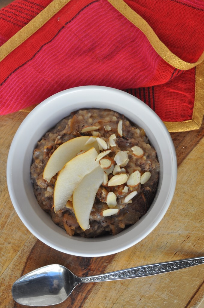 Pear and Almond Crockpot Steel Cut Oats | Once Upon a Recipe