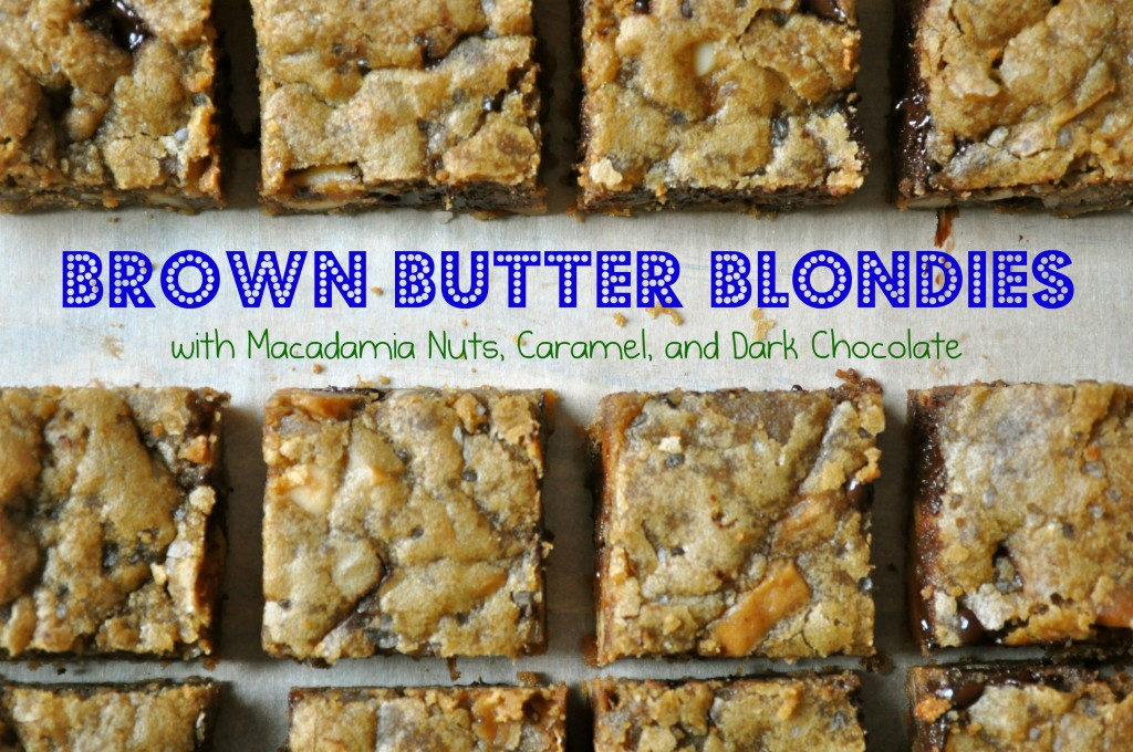 Brown Butter Blondies with Macadamia Nuts, Caramel, and Dark Chocolate | Once Upon a Recipe