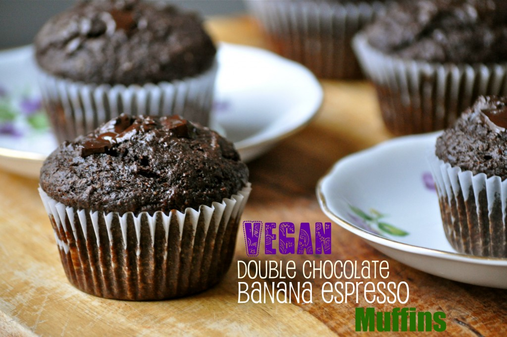 Vegan Double Chocolate Banana Espresso Muffins | Once Upon a Recipe