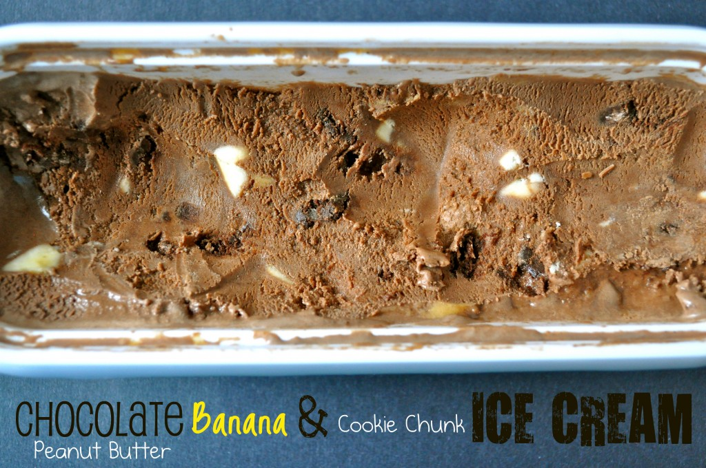 Chocolate Peanut Butter Banana & Cookie Chunk Ice Cream | Once Upon a Recipe
