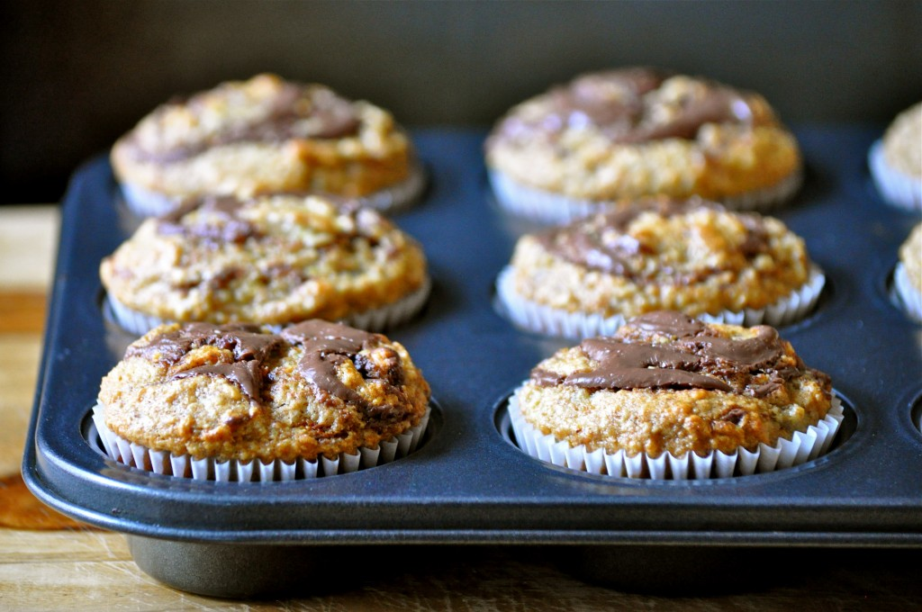 Banana Wheat Germ Muffins with Nutella Swirl | Once Upon a Recipe