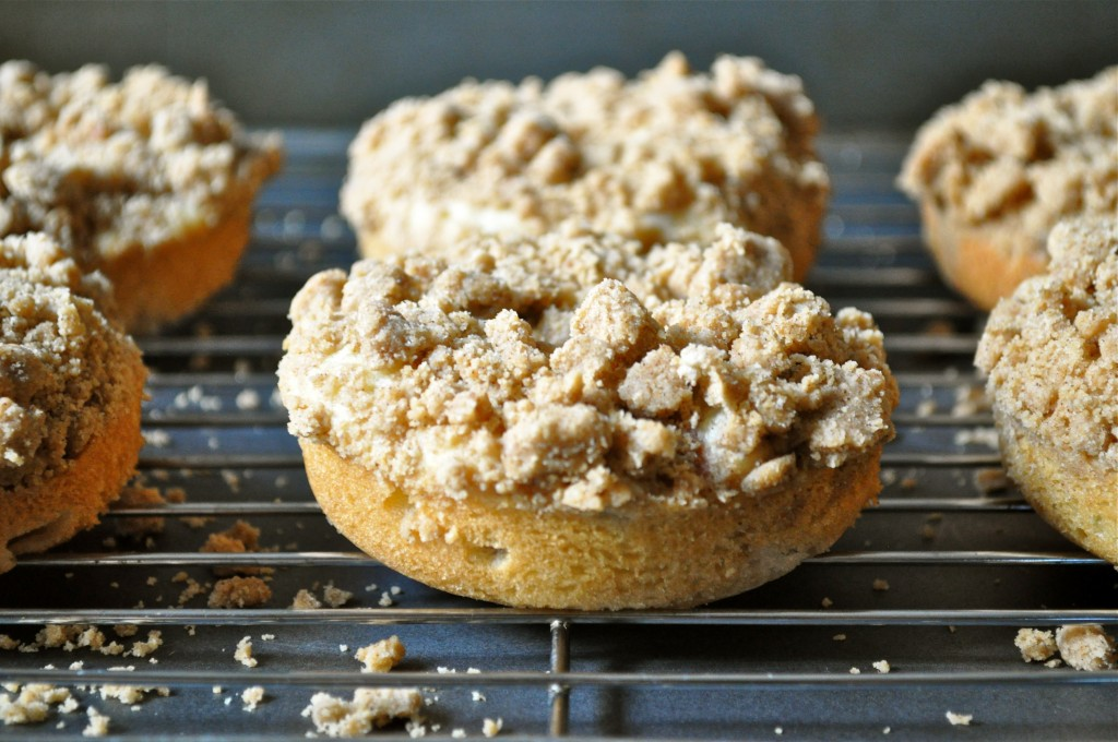 Rhubarb Crumble Baked Donuts | Once Upon a Recipe