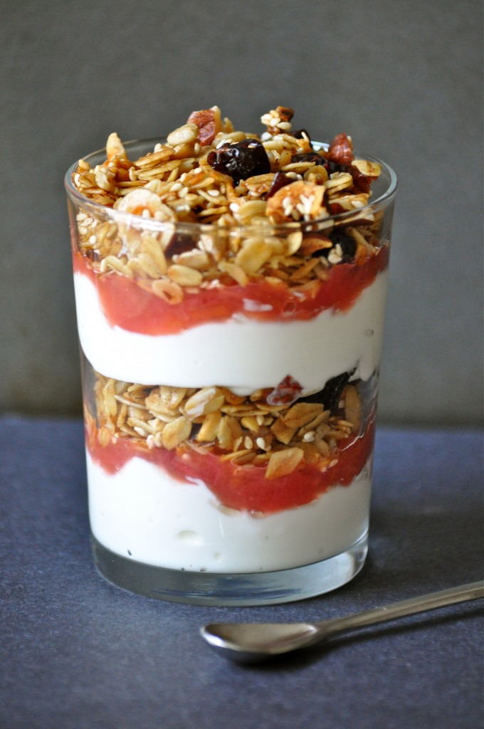 Cherry Hazelnut Granola + Granola Rhubarb Yogurt Parfaits | Once Upon a Recipe