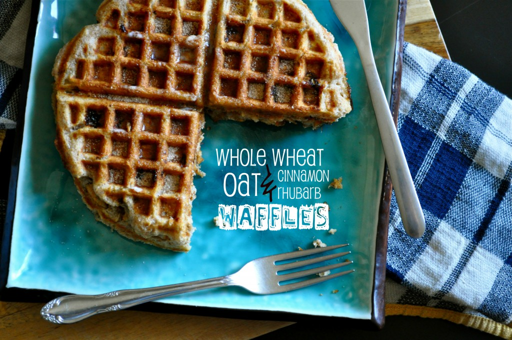 Whole Wheat & Oat Cinnamon Rhubarb Waffles | Once Upon a Recipe