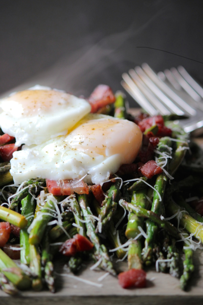 Pan Asparagus & Perfect Poached Eggs from She Eats