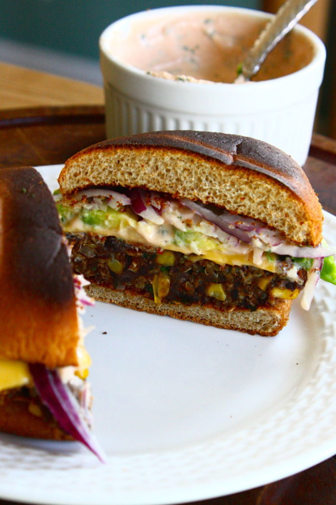 Black Bean, Quinoa & Sweet Potato Veggie Burgers from Feast on the Cheap