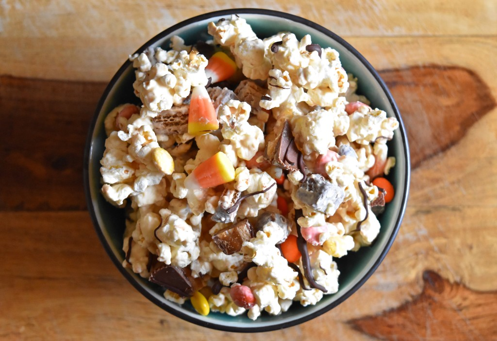 Candy Bar Popcorn | Once Upon a Recipe