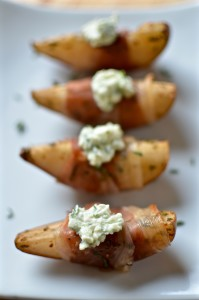 Per La Famiglia: Balsamic Roasted Pear Wedges with Prosciutto + A Giveaway! | Once Upon a Recipe