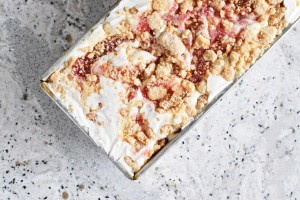 Rhubarb Crumble Ice Cream | Once Upon a Recipe